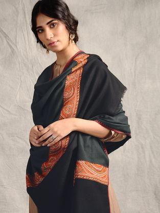 Black-Red Sozni-embroidered Jamawar Wool Shawl