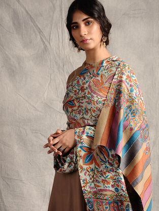 Multicolored Kanni-embroidered Pashmina Shawl