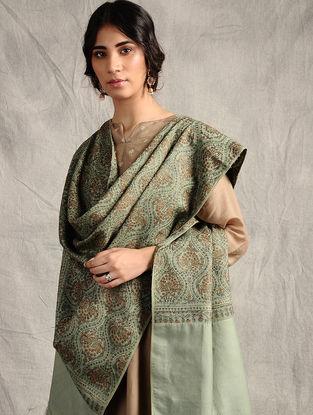 Green Sozni-embroidered Jamawar Wool Shawl