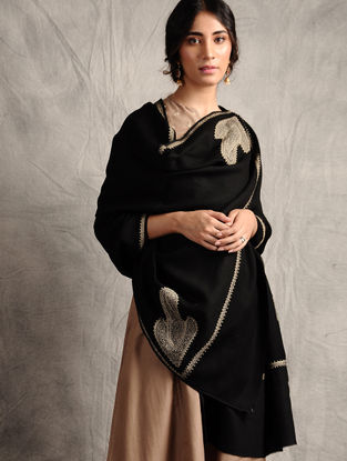 Black-Ivory Sozni-embroidered Jamawar Wool Shawl