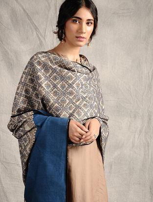 Ivory-Blue Sozni-embroidered Jamawar Wool Shawl