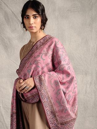 Pink Sozni-embroidered Jamawar Wool Shawl