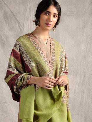 Green-Pink Sozni-embroidered Jamawar Wool Shawl