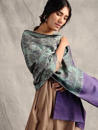 Blue-Purple Sozni-embroidered Jamawar Wool Shawl