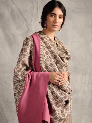 Ivory-Pink Sozni-embroidered Jamawar Wool Shawl