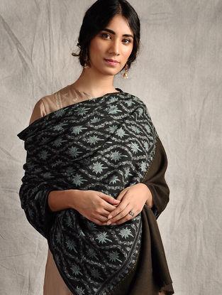 Burgundy-Turquoise Sozni-embroidered Jamawar Wool Shawl