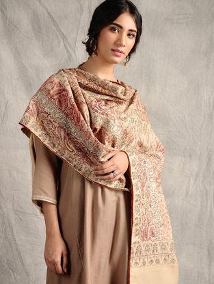 Beige-Red Sozni-embroidered Jamawar Wool Shawl