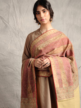 Beige-Pink Sozni-embroidered Jamawar Wool Shawl