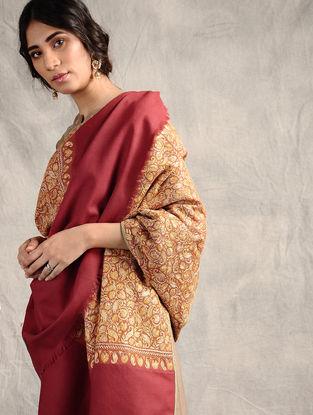 Red-Yellow Sozni-embroidered Jamawar Wool Shawl