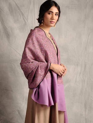 Purple Sozni-embroidered Jamawar Wool Shawl