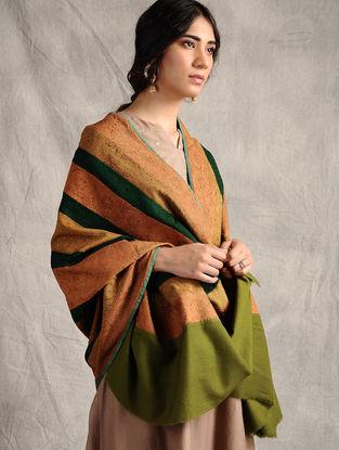 Green-Peach Sozni-embroidered Jamawar Wool Shawl
