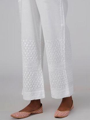 White Elasticated-waist Chikankari Embroidered Cotton Palazzos