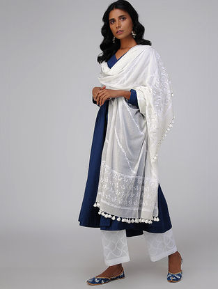 White Chikankari Embroidered Cotton Dupatta