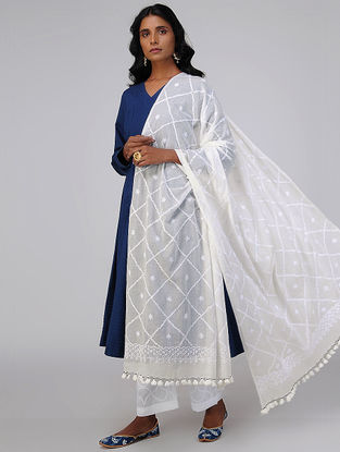 White Chikankari Embroidered Cotton Dupatta