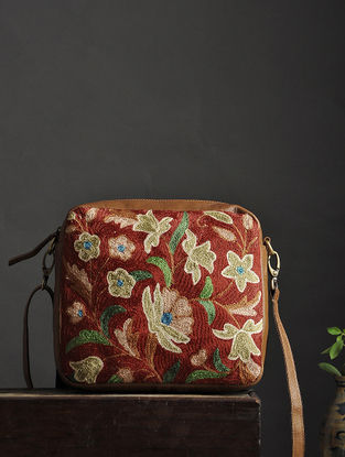 Red-Multicolored Crewel Embroidered Silk Sling Bag
