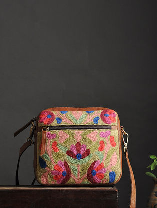 Multicolored Crewel Embroidered Wool Sling Bag