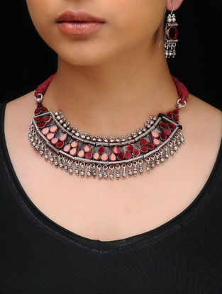 Red Glass Tribal Silver Necklace with a Pair of Earrings (Set of 2)