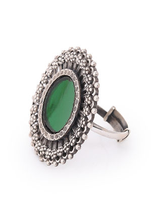 Green Glass Silver Adjustable Ring