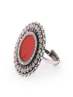 Red Glass Silver Adjustable Ring