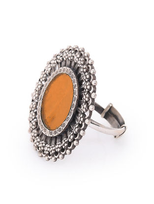 Orange Glass Silver Adjustable Ring