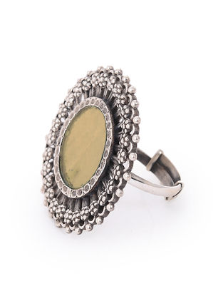 Yellow Glass Silver Adjustable Ring