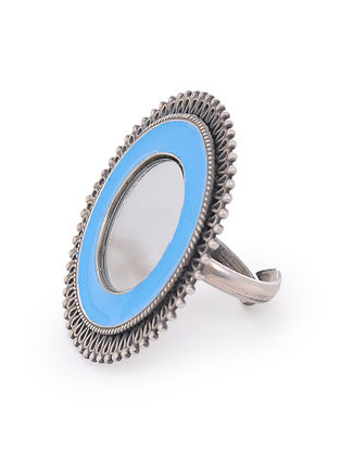 Blue Glass Silver Adjustable Ring
