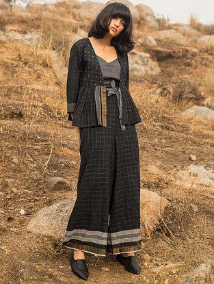 Black Checkered Handwoven Cotton Jacket with Zari