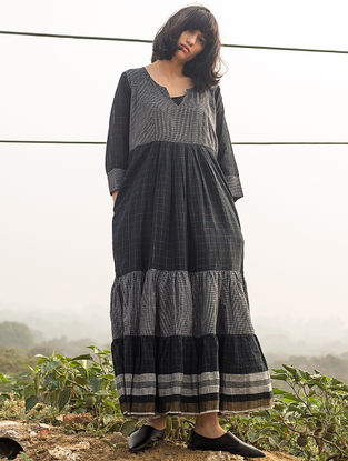 Black-Grey Checkered Handwoven Cotton Dress with Zari