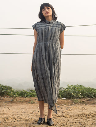 Grey Striped Handwoven Cotton Dress