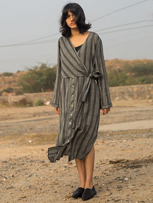 Grey Tie-up Striped Handwoven Cotton Dress