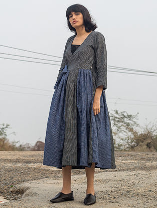 Blue-Black Tie-up Checkered Handwoven Cotton Dress