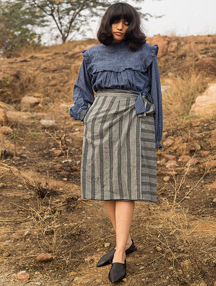 Grey Tie-up Striped Handwoven Cotton Skirt
