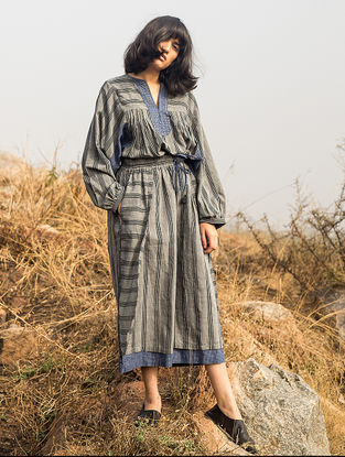 Grey-Blue Tie-up Waist Striped Handwoven Cotton Pants