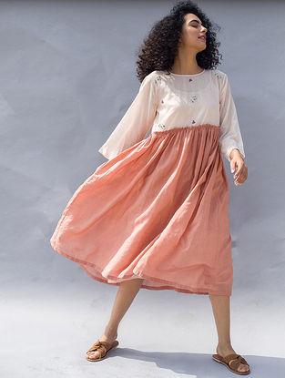 Peach Embroidered Cotton Silk Dress