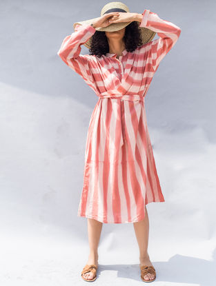 Peach Clamp-dyed Tie-up Cotton Silk Dress