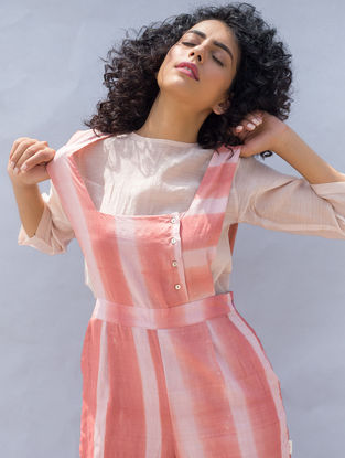 Peach Clamp-dyed Cotton Silk Jumpsuit