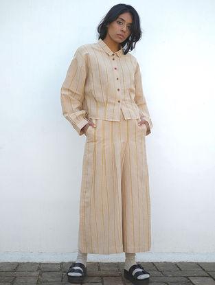 Beige Handwoven Cotton Linen Pants