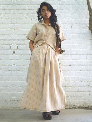Beige Handwoven Cotton Linen Skirt