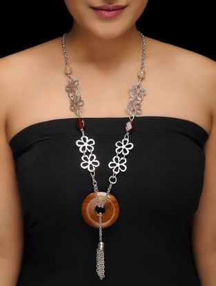 Brown-Red Silver-plated Necklace with Quartz and Agate