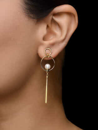 Gold-plated Pearl Embelished Earrings