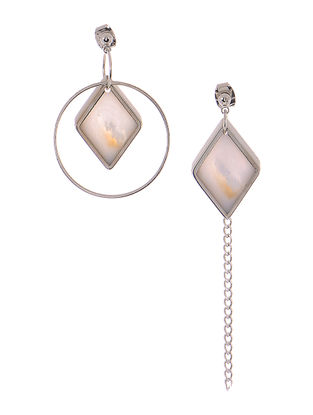 Mother of Pearl Rhodium-plated Mismatch Earrings