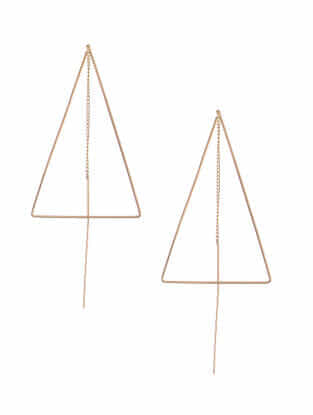 Classic Rose Gold-Plated Needle Thread Earrings