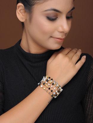 Black-Blue Gold-Plated Brass Bracelet