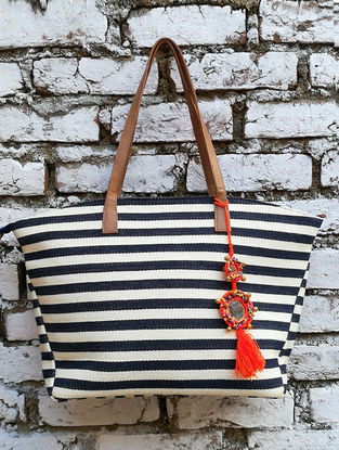 Navy Blue-White Dhurrie Cotton Tote with Tassel
