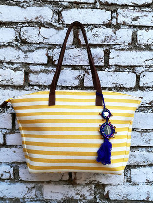 Yellow-White Dhurrie Cotton Tote with Tassel