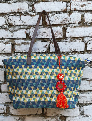 Teal-Yellow Jacquard Cotton Tote with Tassel