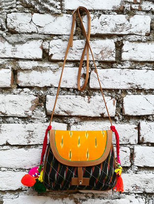Black-Orange Hand Block-Printed and Ikat Cotton Sling Bag with Tassels