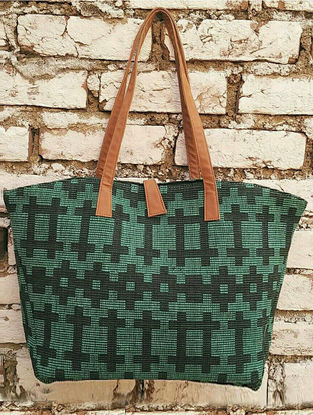 Green Jacquard Cotton Tote