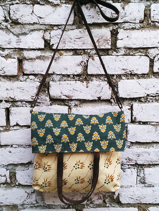 Green-Cream Kalamkari Printed Cotton Fold Over Sling Bag