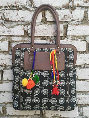 Black Jacquard Cotton Tote with Pom-poms and Tassels